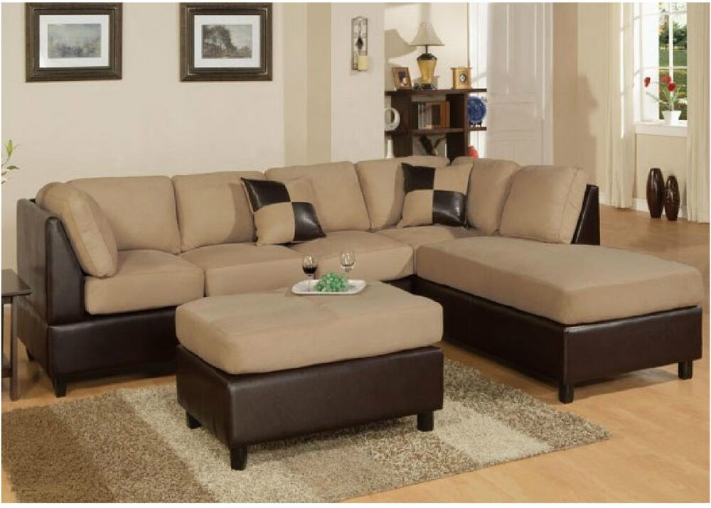 Sofa Couch Sectional Sofa In Microfiber And Faux Leather