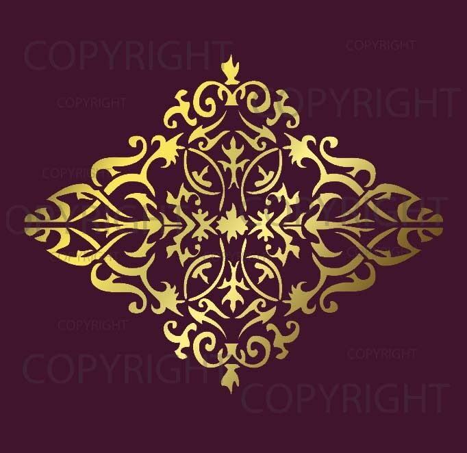 Large wall damask stencil pattern faux mural 1022 ebay for Damask wall mural