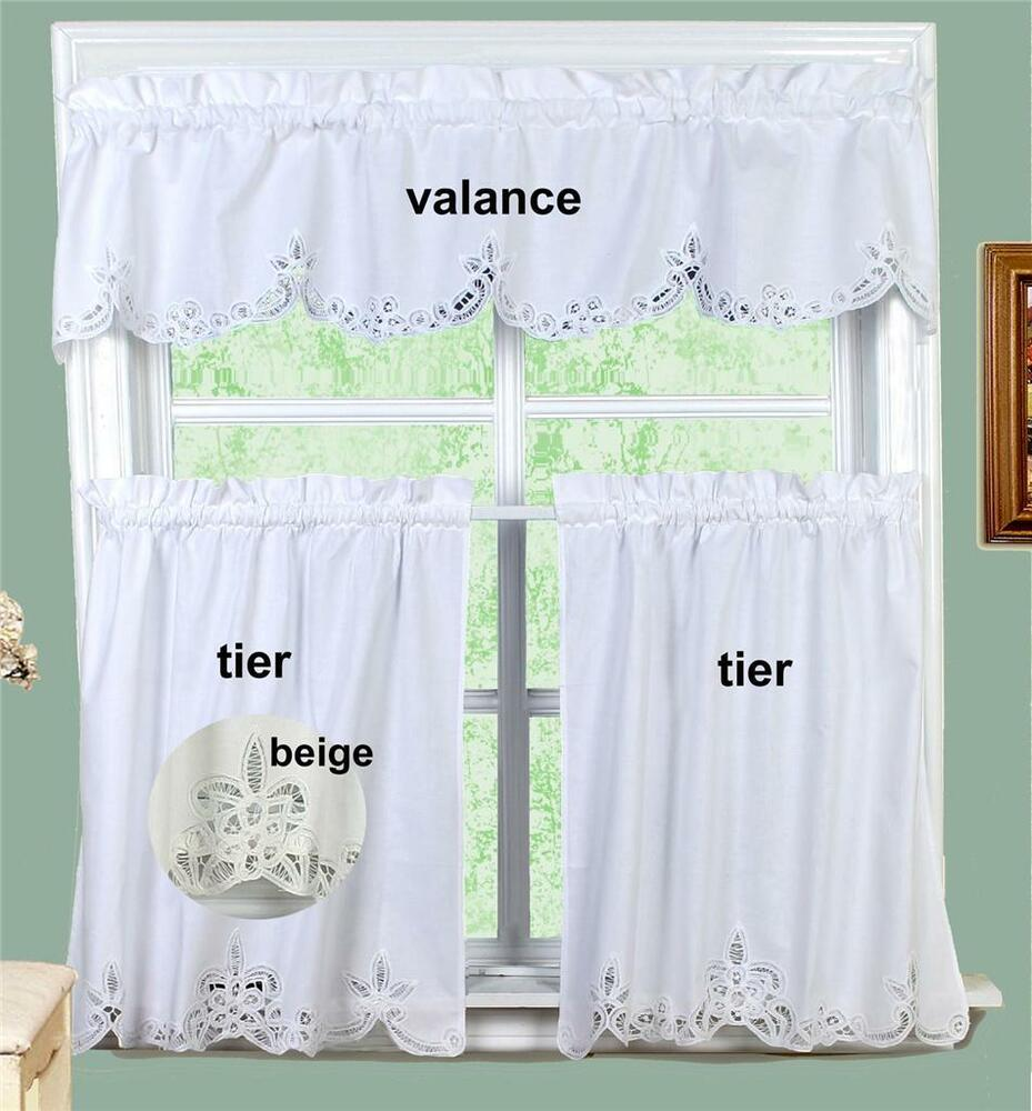 "Battenburg Lace Kitchen Curtain Valance & Tiers (24""/30"