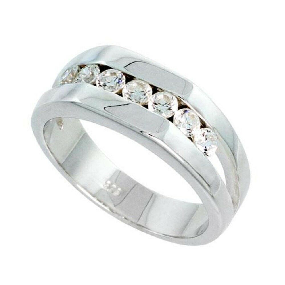 sterling silver s ring w brilliant cut cubic zirconia stones ebay