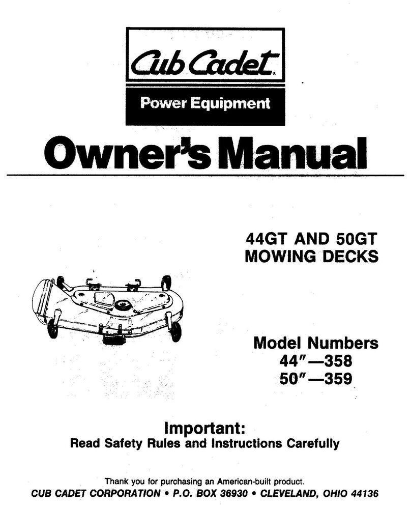 Cub Cadet mower Decks manual