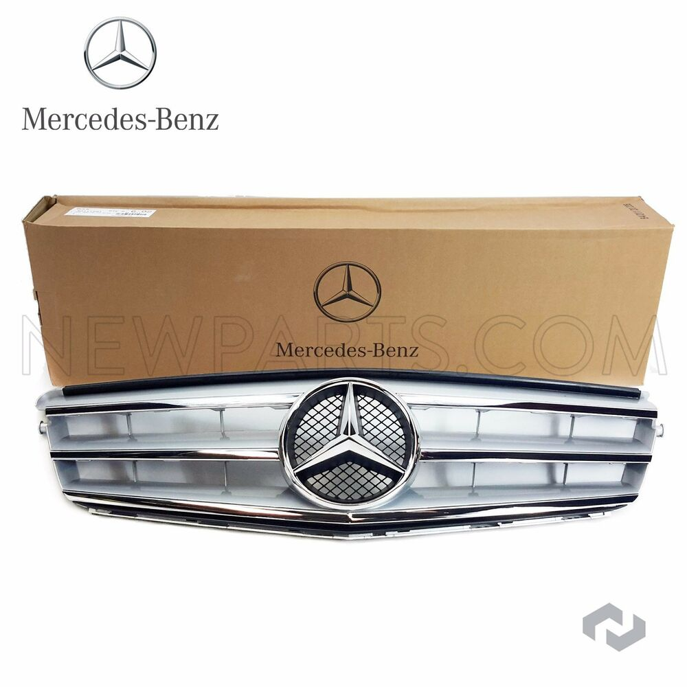 Mercedes w204 c300 c350 c300 4m grille assembly with for Silver star mercedes benz parts