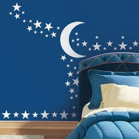 stargazer wall decals star moon sun room decor stickers glow in the dark nursery ebay. Black Bedroom Furniture Sets. Home Design Ideas