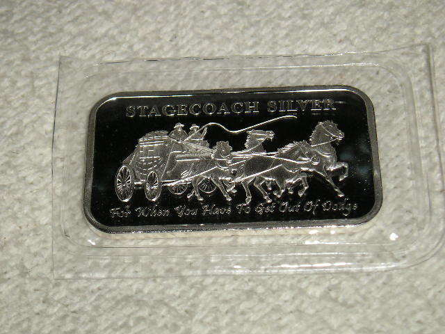 1 Troy Oz Stagecoach 999 Pure Fine Silver Bar
