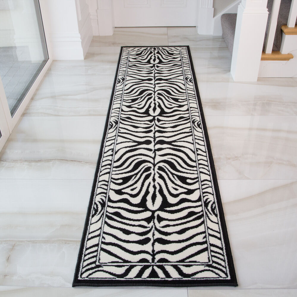 Black And White Rug Ebay Uk: Modern Black Ivory Zebra Print Long Hall Runner Rug Animal