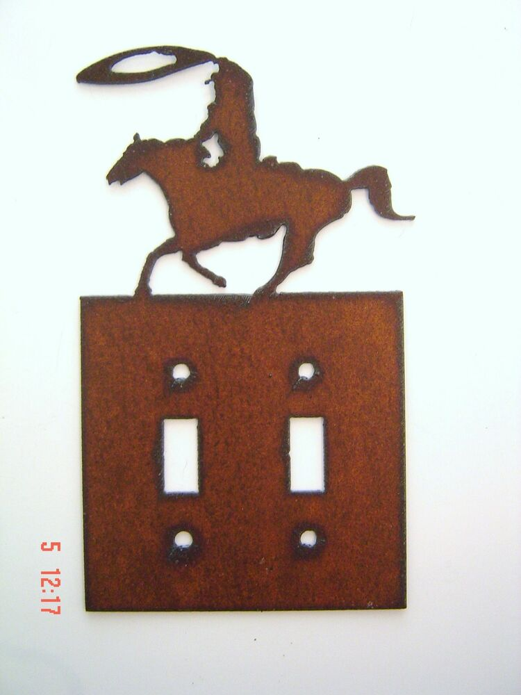 Cowboy western ranch decor roper horse double switch plate for Decor light switch