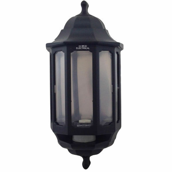 Lantern Wall Light Pir : ASD HL/BK060P Half Lantern Wall Light with PIR Sensor - Black (FIN866) eBay