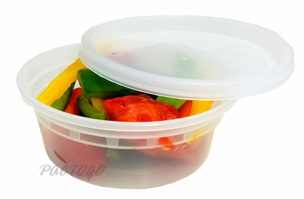 240 sets 8 oz clear plastic soup food containers w lids combo microwaveable ebay. Black Bedroom Furniture Sets. Home Design Ideas