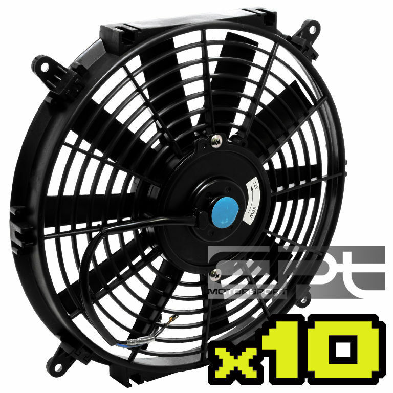 "10X 10"" 12 VOLT SLIM ELECTRIC RACING BLACK RADIATOR FAN"