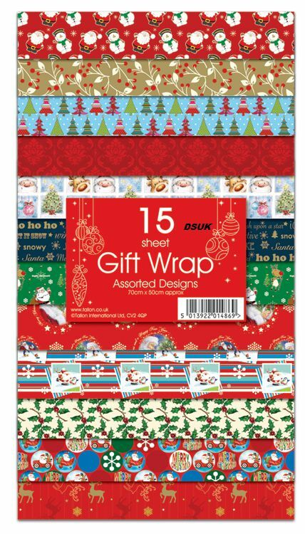 new15 sheets christmas gift wrap wrapping paper assorted designs flat wrap ebay. Black Bedroom Furniture Sets. Home Design Ideas