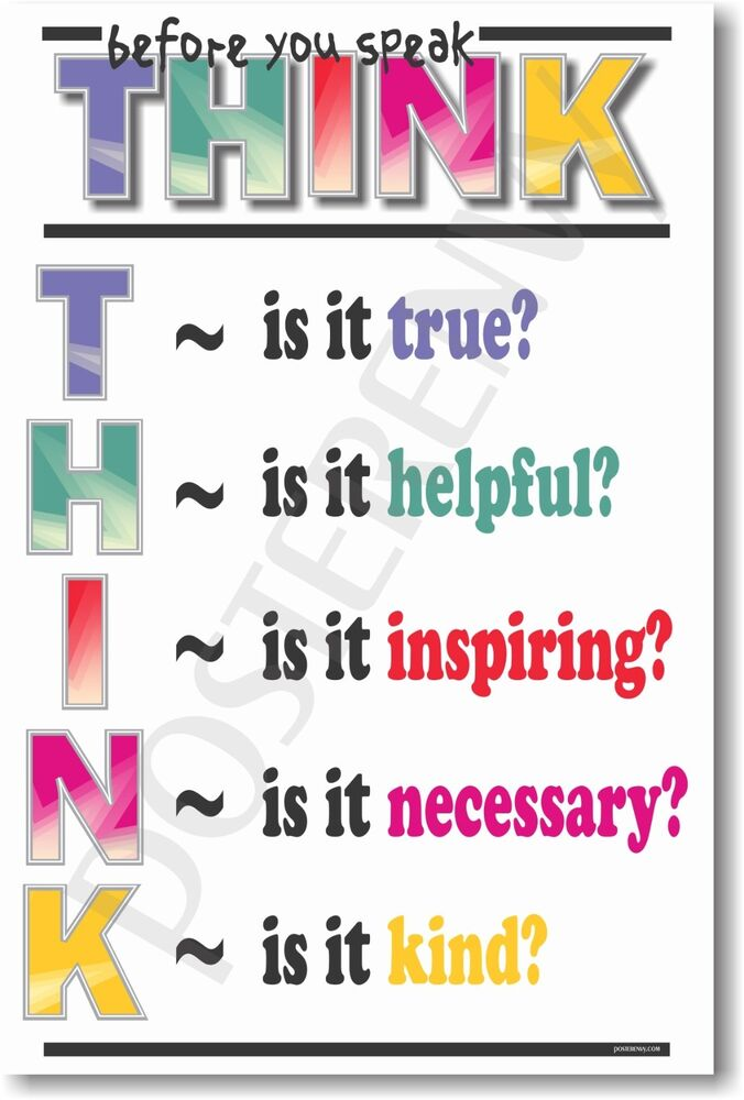 Classroom Decor Posters ~ Think before you speak new school classroom student