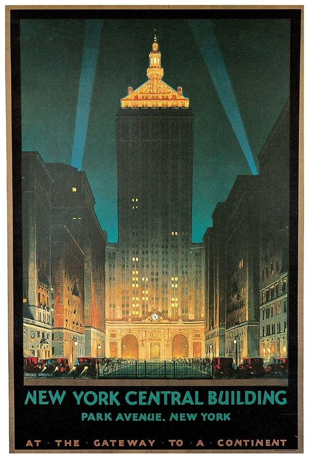 new york central building park ave ny 24 x36 vintage travel poster on canvas ebay. Black Bedroom Furniture Sets. Home Design Ideas