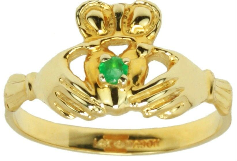 new yellow or white gold genuine emerald celtic
