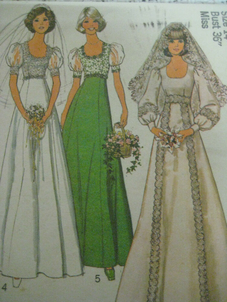 Vintage 70 39 s simplicity 6940 wedding dress bridal gown for Wedding dress patterns vintage