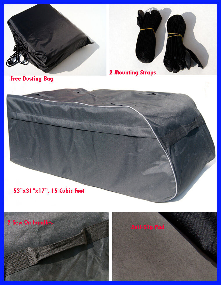 15 Cubic Feet Roof Top Cargo Carrier Bag Rack Side Rail