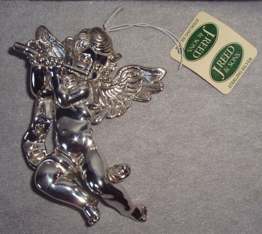 Nos J Reed 1995 Sterling Silver Cherub Angel With Flute