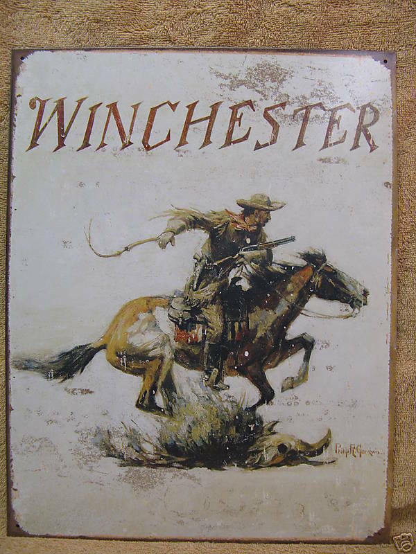 Winchester Logo Tin Metal Sign Decor Cowboy Horse New Ebay