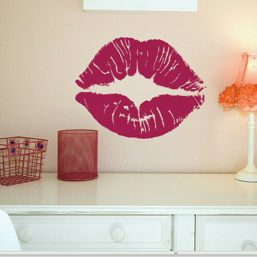 Giant kissing puckered lips wall art stickers decals giant for 8 sheet giant wall mural