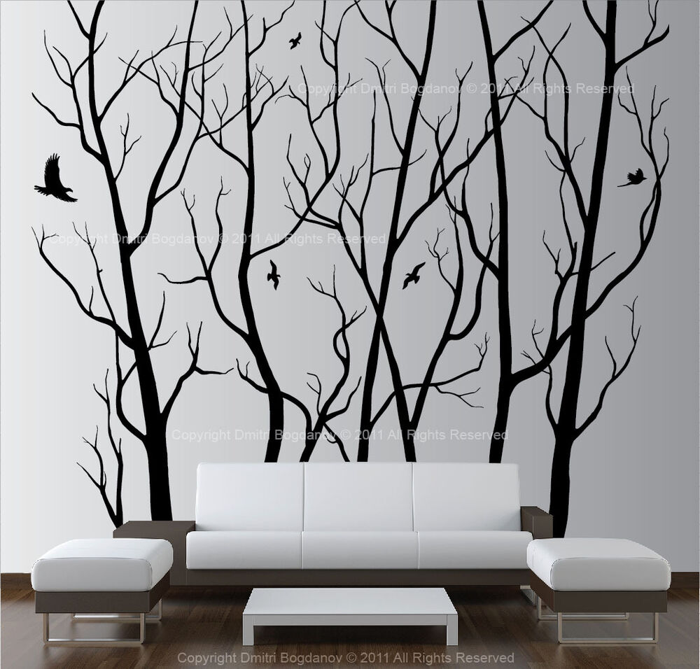large wall art decor vinyl tree forest decal sticker. Black Bedroom Furniture Sets. Home Design Ideas