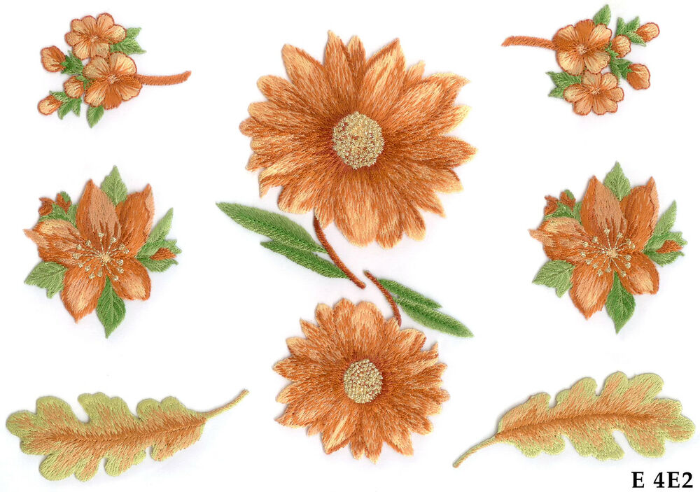 Pc orange brown and gold flowers with leaves iron on