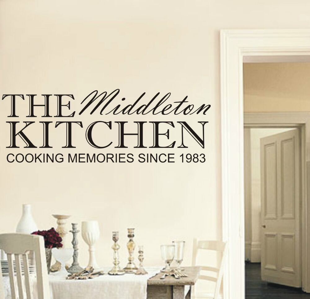 Personalised family kitchen wall art sticker any name and for Family wall art