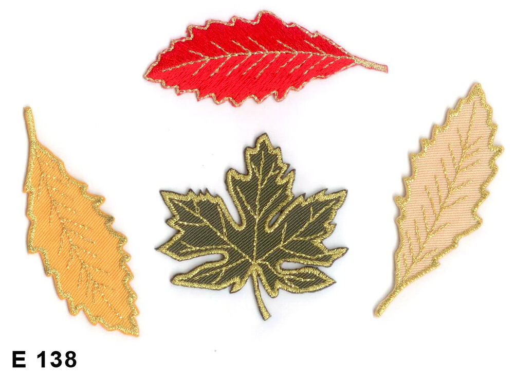 Pc autumn leaf set with gold trim iron on embroidered