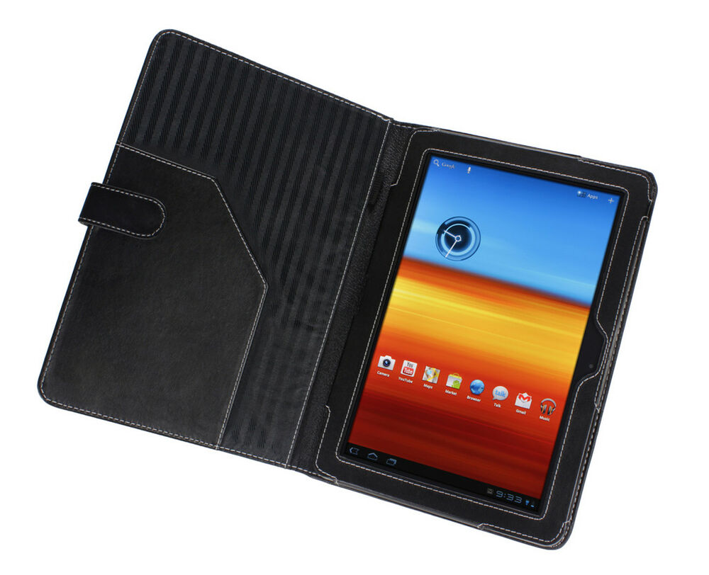 samsung galaxy tab 10 1 black leather cover case ebay. Black Bedroom Furniture Sets. Home Design Ideas