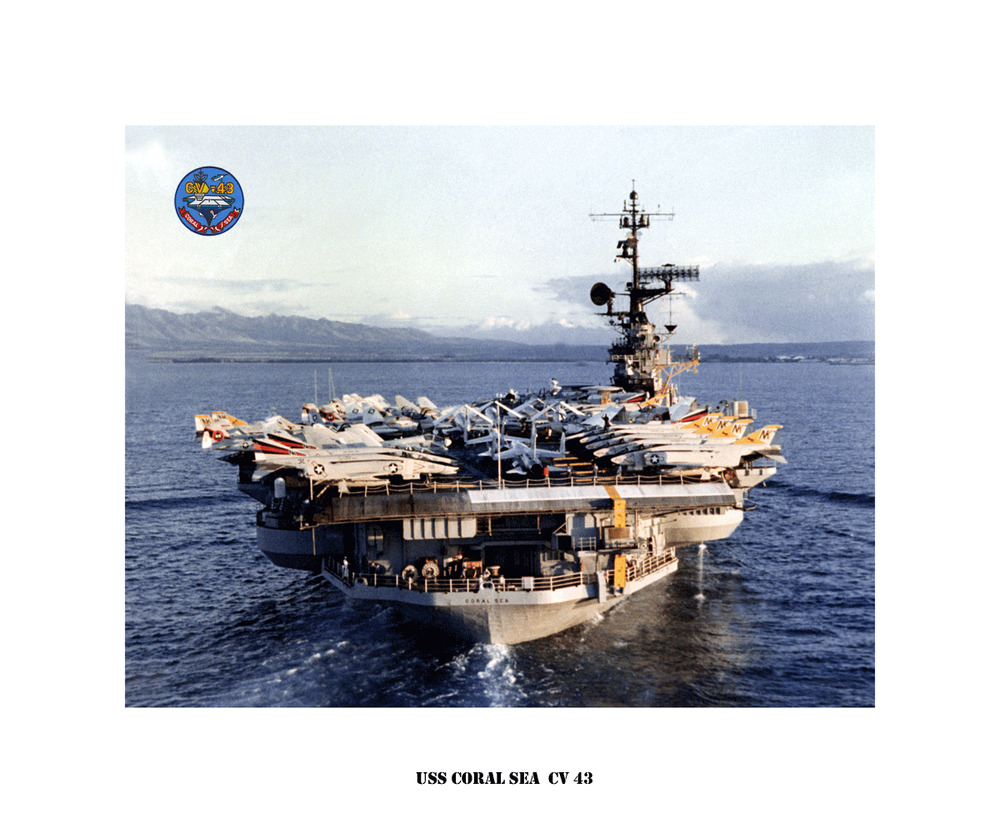 uss coral sea cv 43 ca 1981 naval ship photo print usn