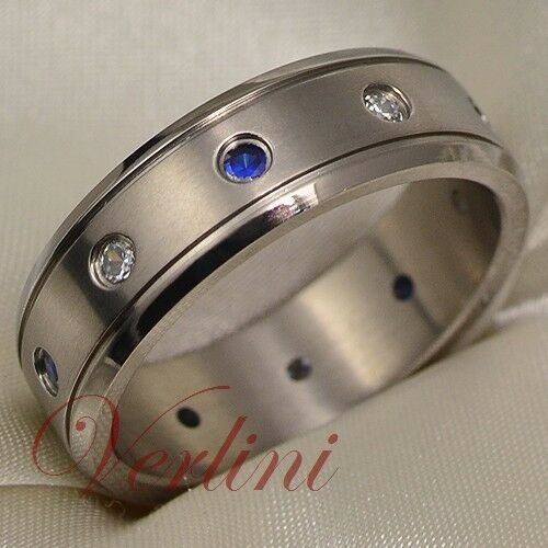 Men39s titanium ring wedding band blue sapphire diamond for Mens wedding ring with blue diamonds