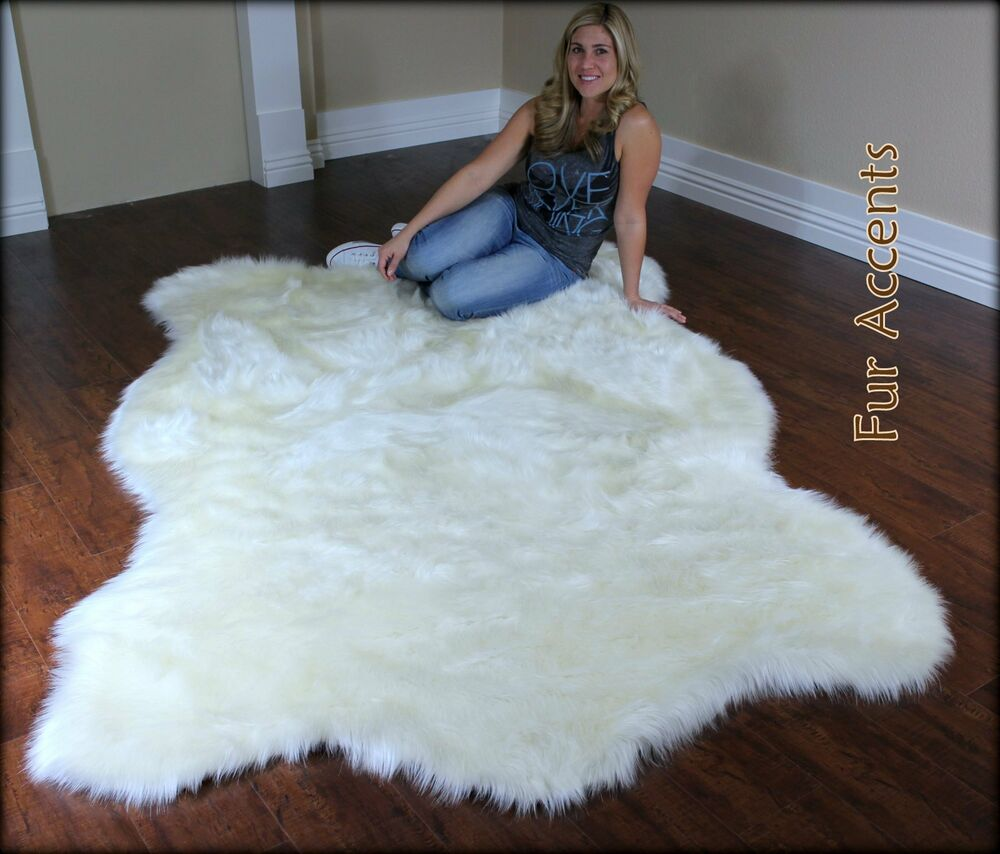 fur accents faux fur bear skin area rug polar bear off white 5 39 x7 39 ebay. Black Bedroom Furniture Sets. Home Design Ideas
