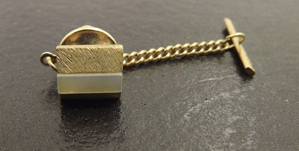 Vintage Gold Tone Squared Mother Pearl Mens Tie Tack Ebay
