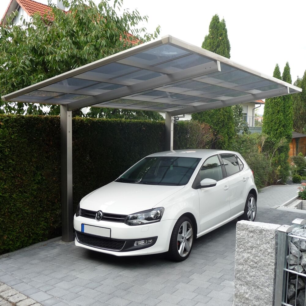 aluminium carport bausatz einzelcarport freistehend edel stahl look 495 x 270 cm ebay. Black Bedroom Furniture Sets. Home Design Ideas