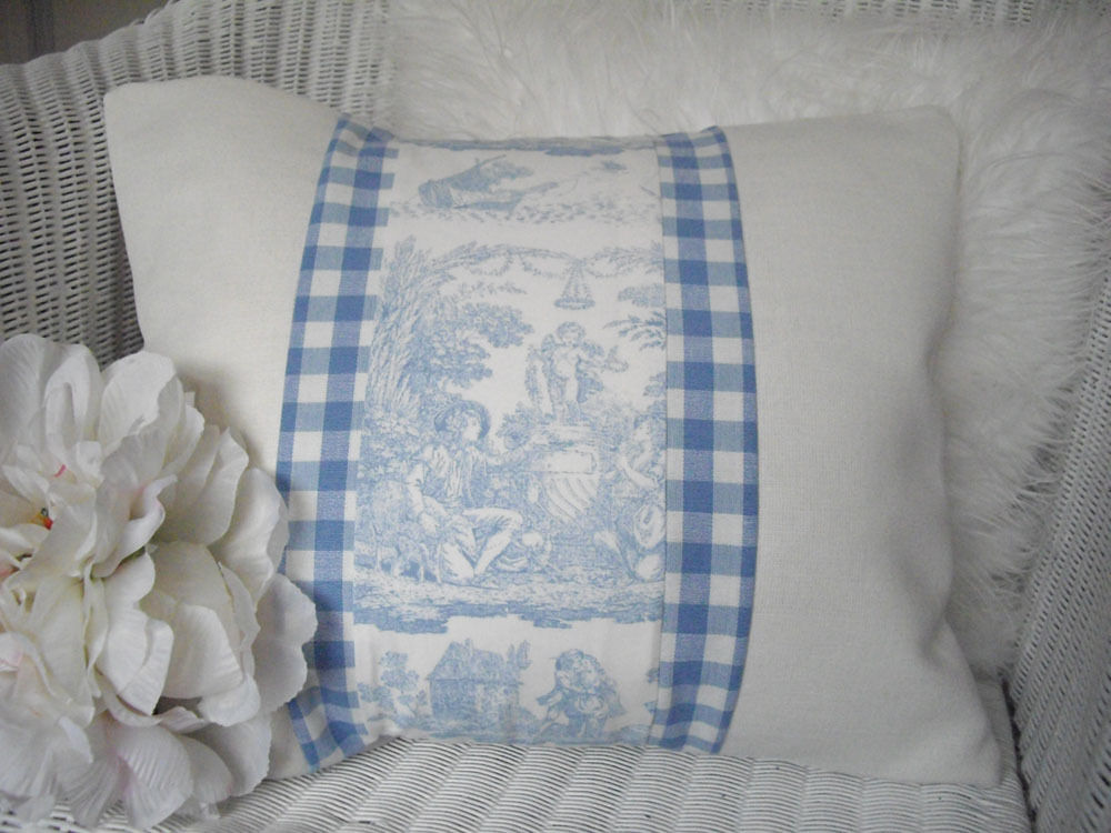 Shabby chic cushion blue toile linen gingham laura for Toile shabby chic