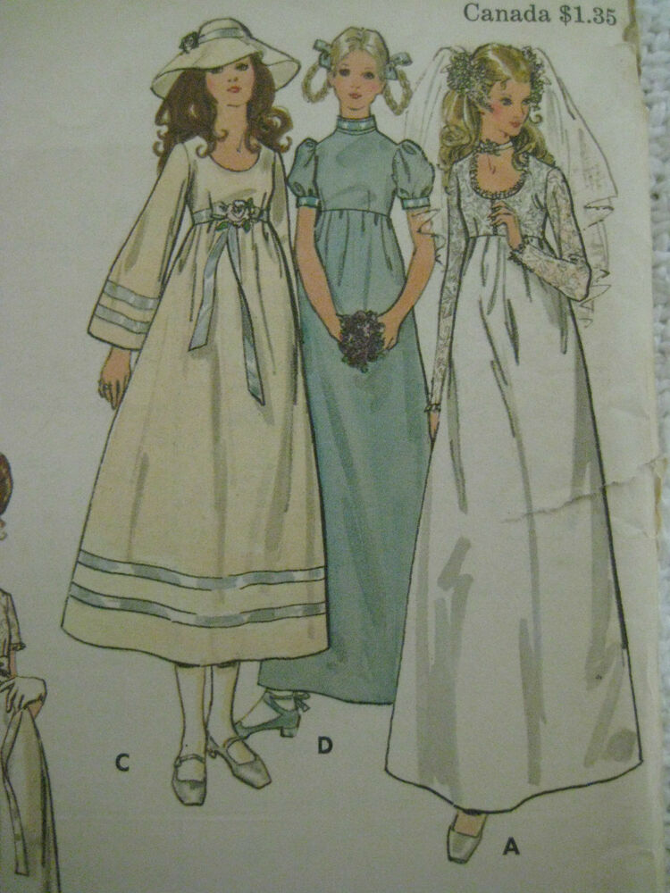 Vintage butterick 6000 high waisted bridal dress gown for Wedding dress patterns vintage