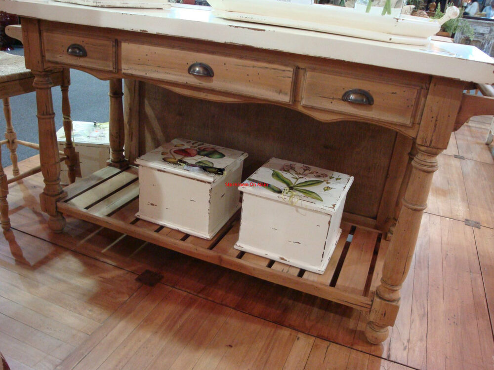 Distressed Cottage Kitchen Island In Natural Driftwood Ebay