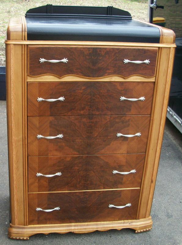 Antique Art Deco Dresser Chest Of Drawers Waterfall Highboy EBay