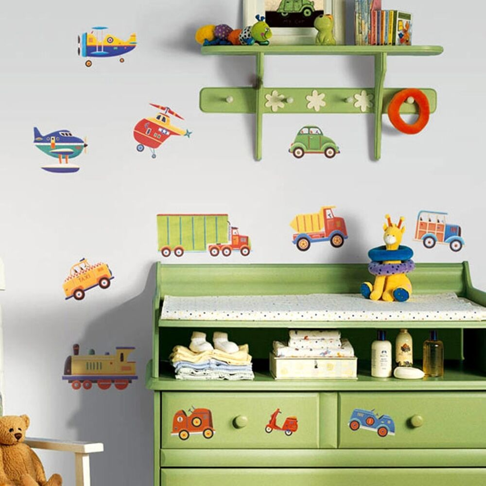 Baby boy room decor cars - 26 New Cars Trucks Planes Wall Decals Transportation Stickers Boys Room Decor Ebay