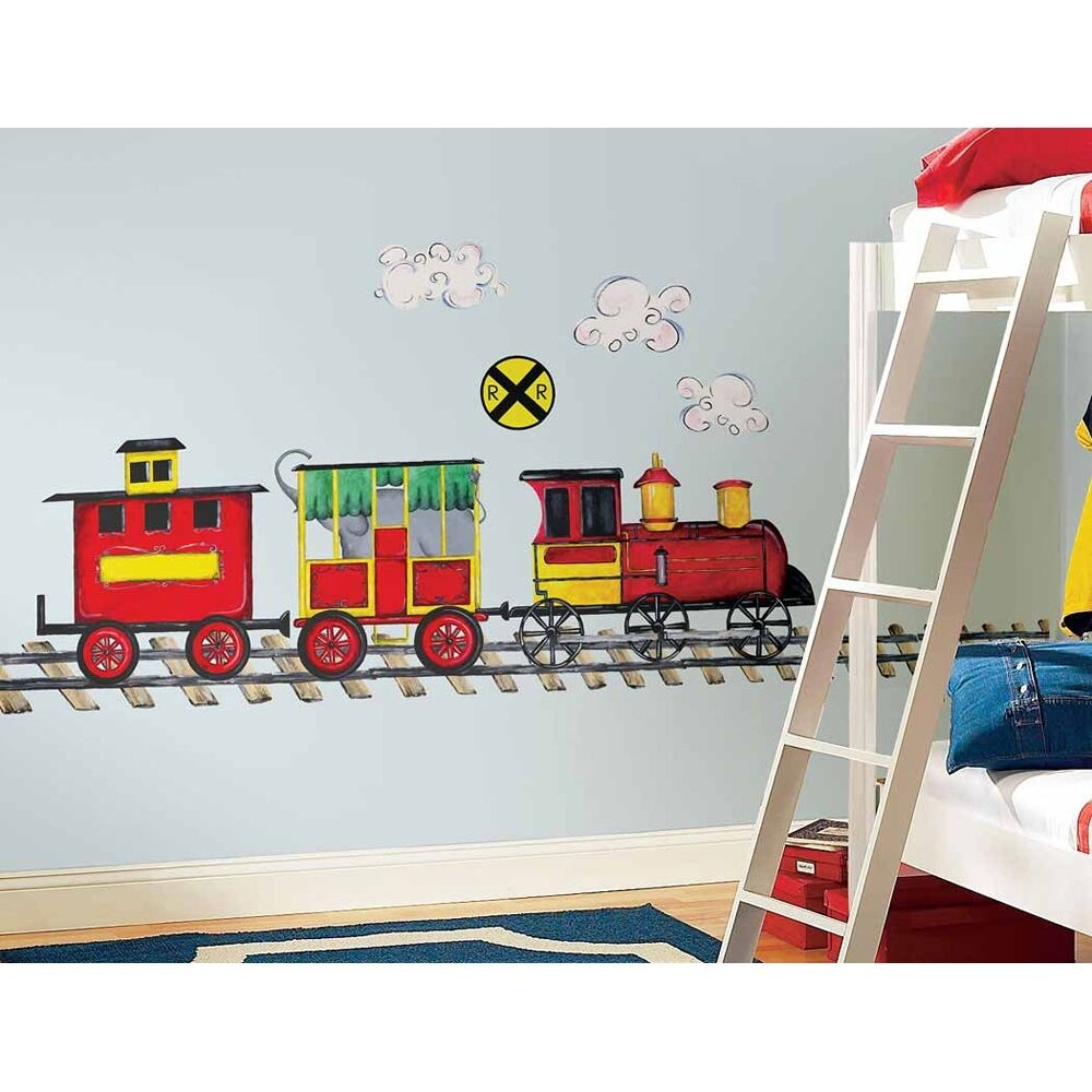 New giant train wall decal mural boys room trains stickers nursery decorations ebay for Toddler train bedroom