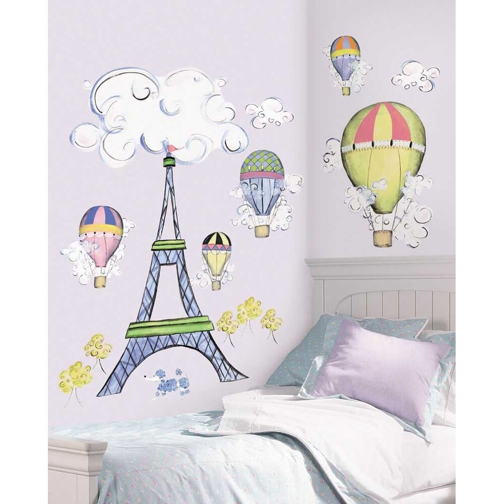 New Giant Eiffel Tower Wall Decal Mural Hot Air Balloons