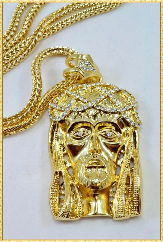 Hip Hop High End Gold Finish Iced Out Jesus Piece Pendant