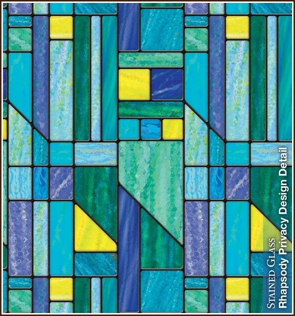 Rhapsody privacy stained glass decorative window film blue for Decorative stained glass windows
