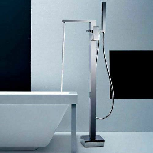 Brayton Cube Bathroom Chrome Freestanding Bath Shower