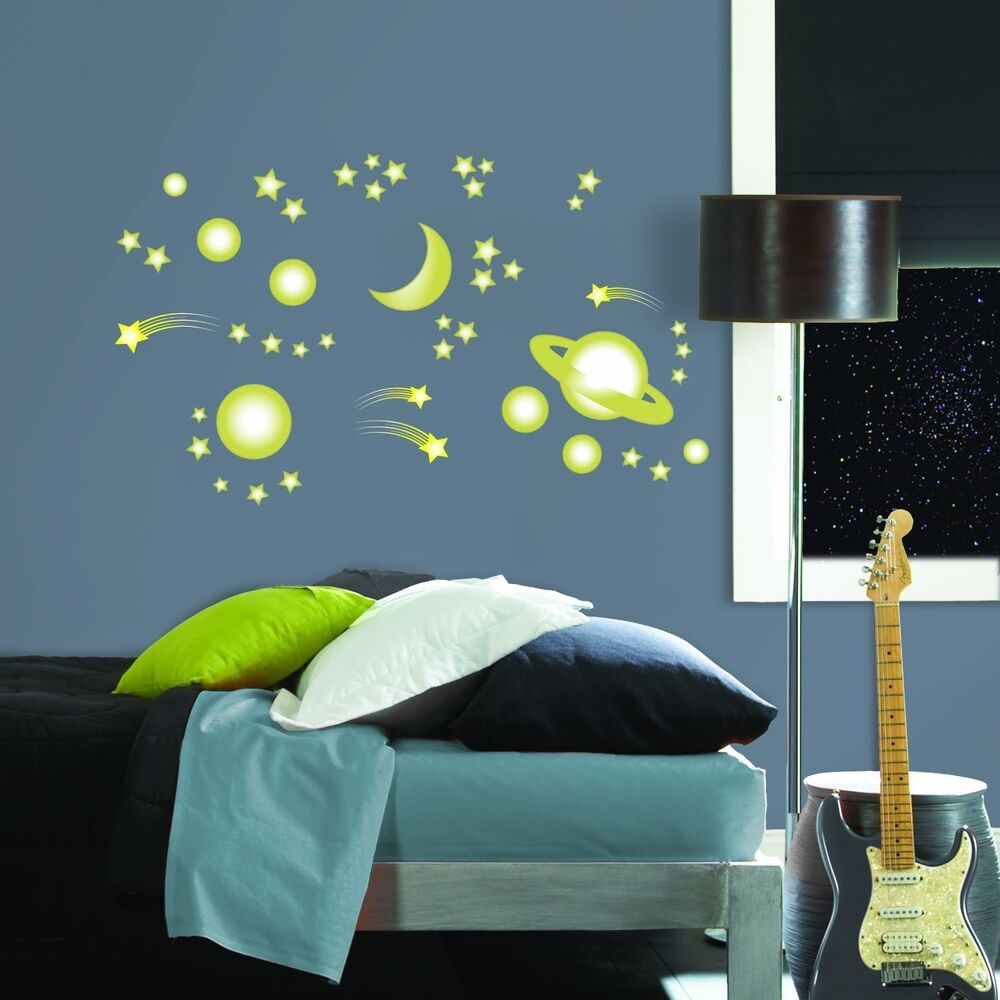 Space Stars 46 Big Wall Stickers Glow In The Dark Planets