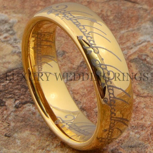 Lord The Ring Gold Tungsten Wedding Band LOTR Men's Big ...