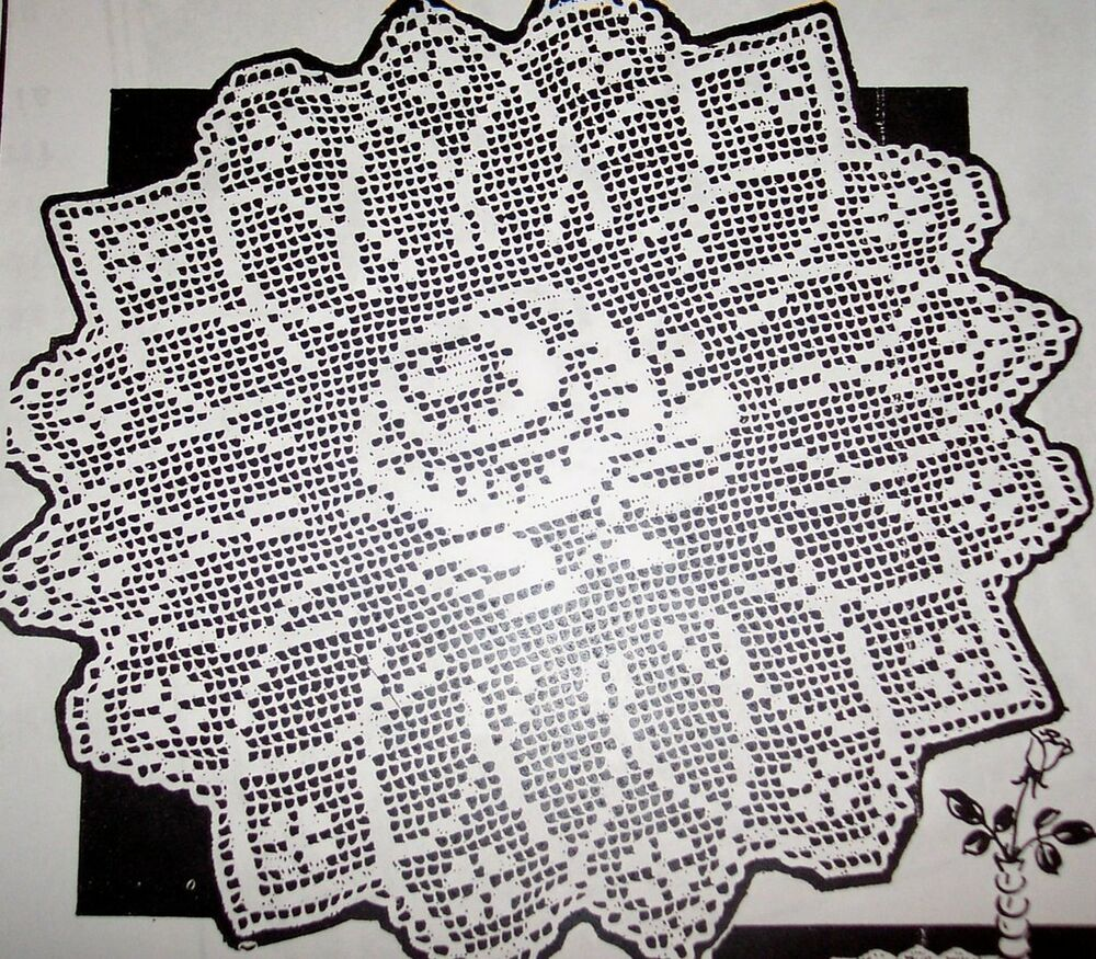 ... Filet ROSE CENTERPIECE Pattern to Crochet (Reproduction) eBay