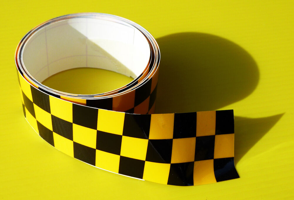 Cafe Racer Chequered Tape Stripe Yellow Black Sticker