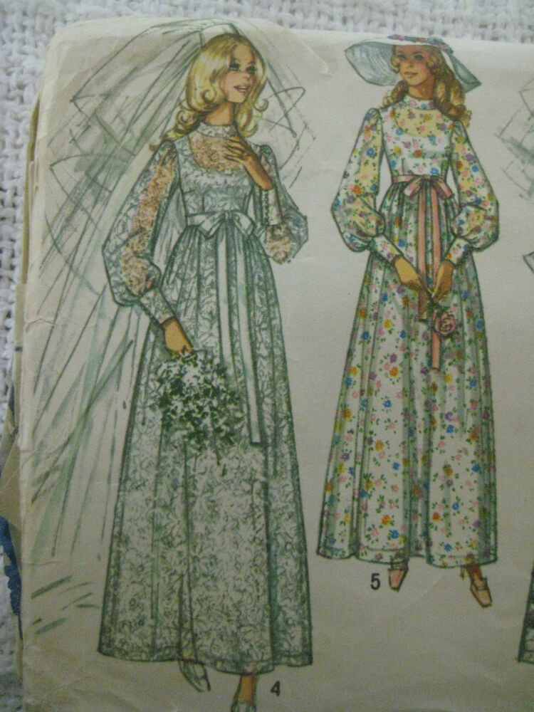 Vintage simplicity 9218 wedding gown dress sewing pattern for Wedding dress patterns vintage