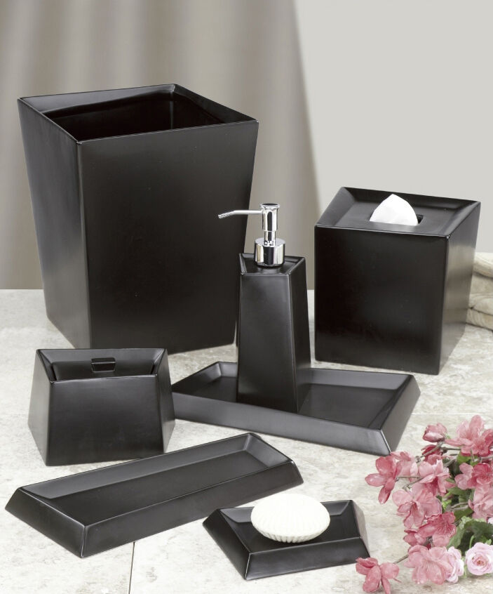 Modern angles black matte ceramic bath accessories - Modern bathroom accessories sets ...