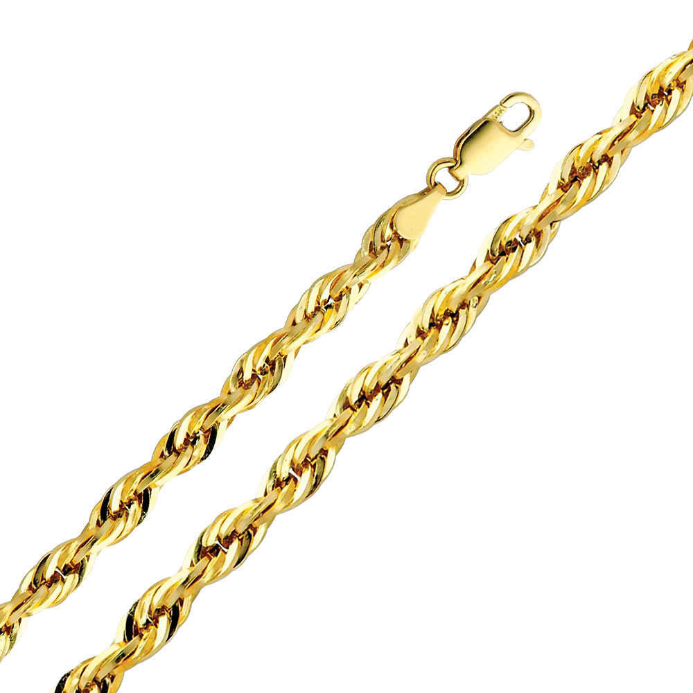 14k yellow gold 5mm cut hollow rope chain necklace
