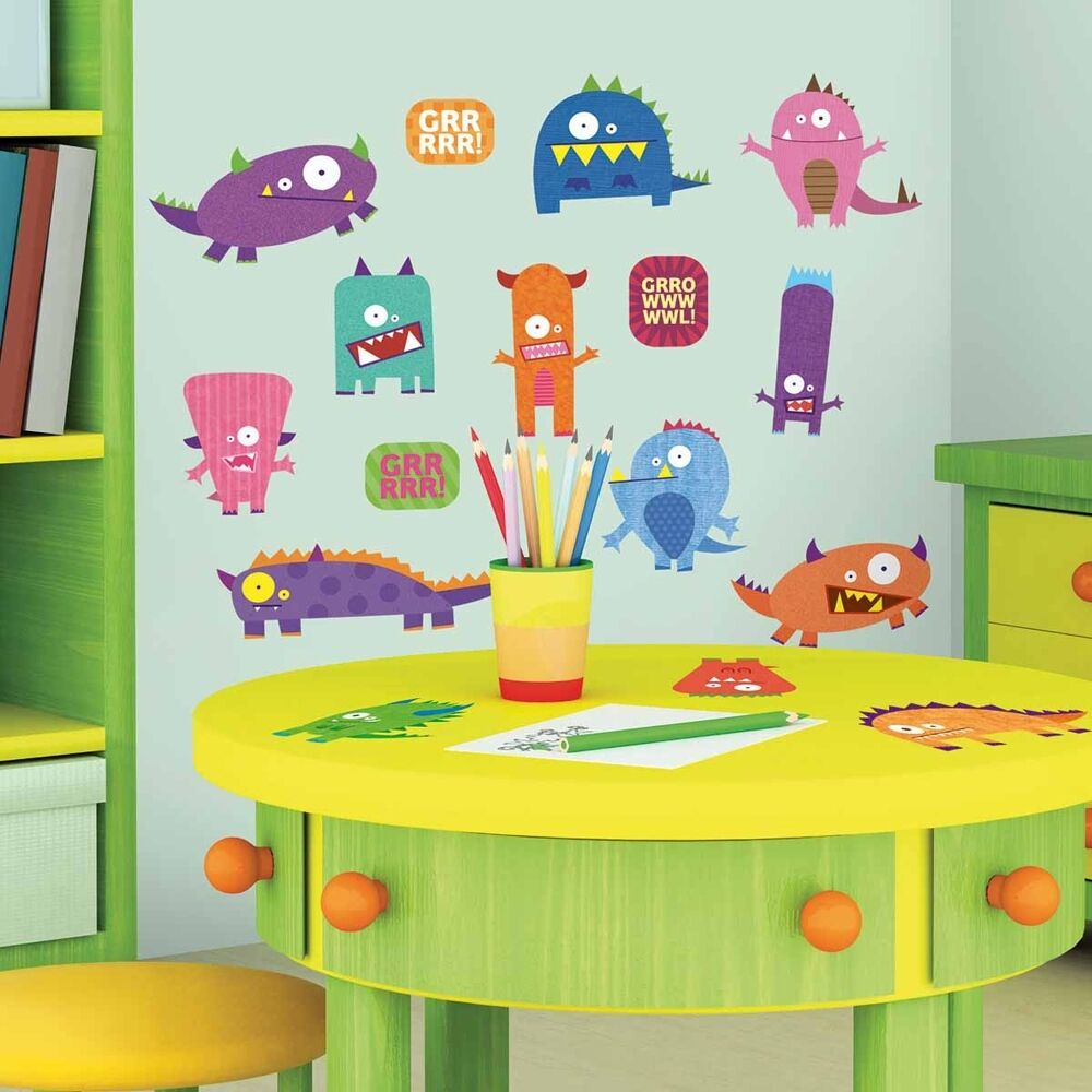 35 New MONSTERS WALL DECALS Blue Pink Purple Orange